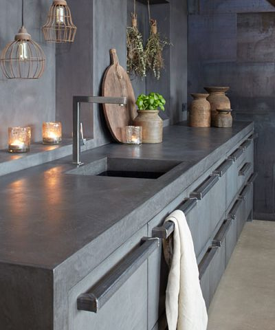 Polished concrete work surfaces